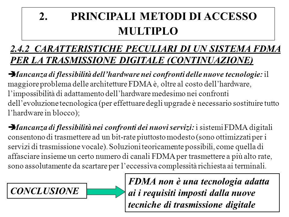 2. PRINCIPALI METODI DI ACCESSO MULTIPLO 2.4.2 CARATTERISTICHE PECULIARI DI UN SISTEMA FDMA PER LA TRASMISSIONE DIGITALE (CONTINUAZIONE) èMancanza di
