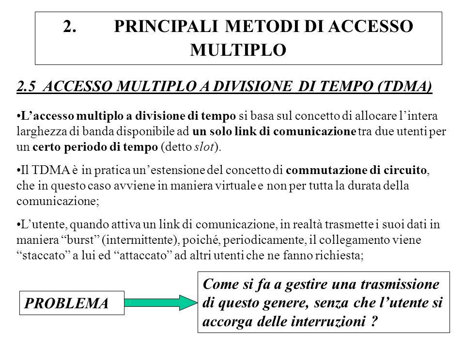 2. PRINCIPALI METODI DI ACCESSO MULTIPLO 2.5 ACCESSO MULTIPLO A DIVISIONE DI TEMPO (TDMA) Laccesso multiplo a divisione di tempo si basa sul concetto