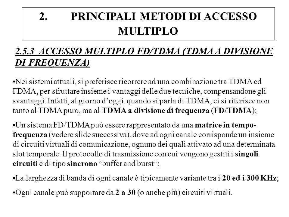 2. PRINCIPALI METODI DI ACCESSO MULTIPLO 2.5.3 ACCESSO MULTIPLO FD/TDMA (TDMA A DIVISIONE DI FREQUENZA) Nei sistemi attuali, si preferisce ricorrere a