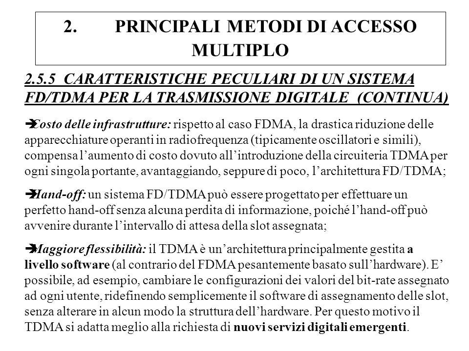 2. PRINCIPALI METODI DI ACCESSO MULTIPLO 2.5.5 CARATTERISTICHE PECULIARI DI UN SISTEMA FD/TDMA PER LA TRASMISSIONE DIGITALE (CONTINUA) èCosto delle in