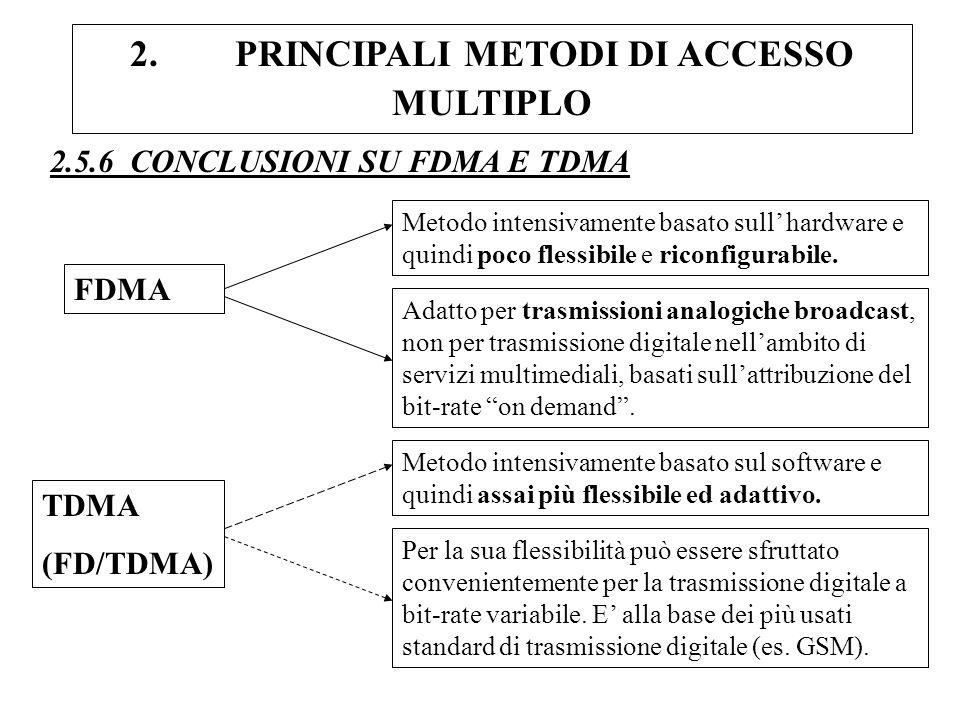 2. PRINCIPALI METODI DI ACCESSO MULTIPLO 2.5.6 CONCLUSIONI SU FDMA E TDMA FDMA Metodo intensivamente basato sull hardware e quindi poco flessibile e r