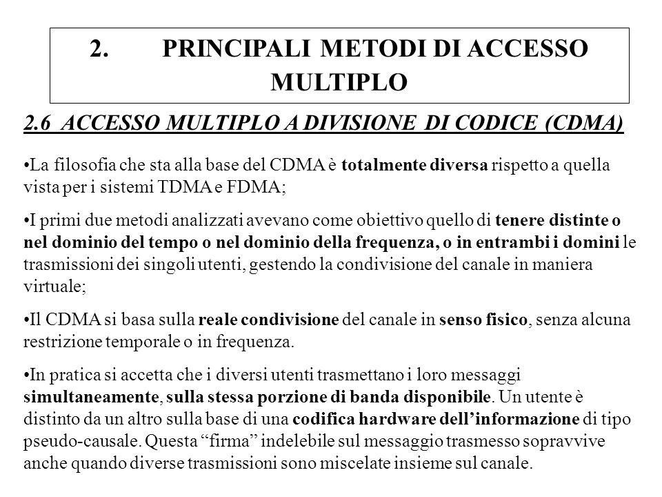 2. PRINCIPALI METODI DI ACCESSO MULTIPLO 2.6 ACCESSO MULTIPLO A DIVISIONE DI CODICE (CDMA) La filosofia che sta alla base del CDMA è totalmente divers