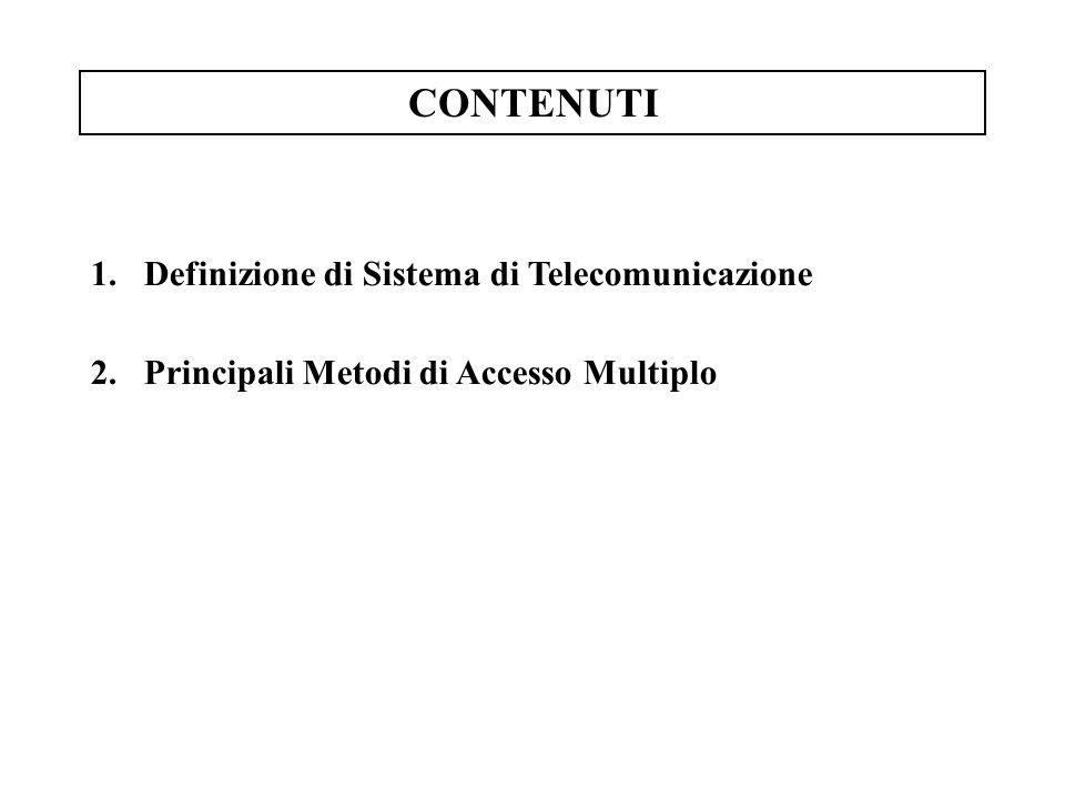 CONTENUTI 1.Definizione di Sistema di Telecomunicazione 2.Principali Metodi di Accesso Multiplo