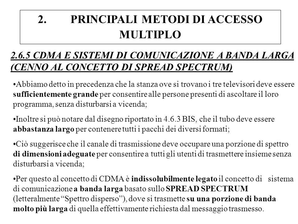 2. PRINCIPALI METODI DI ACCESSO MULTIPLO 2.6.5 CDMA E SISTEMI DI COMUNICAZIONE A BANDA LARGA (CENNO AL CONCETTO DI SPREAD SPECTRUM) Abbiamo detto in p