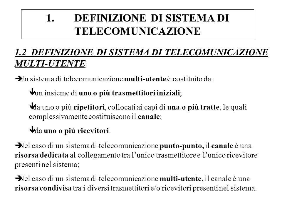 1.2 DEFINIZIONE DI SISTEMA DI TELECOMUNICAZIONE MULTI-UTENTE èUn sistema di telecomunicazione multi-utente è costituito da: ê un insieme di uno o più