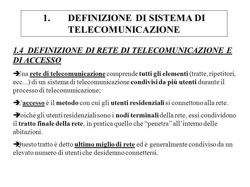 1.DEFINIZIONE DI SISTEMA DI TELECOMUNICAZIONE 1.4 DEFINIZIONE DI RETE DI TELECOMUNICAZIONE E DI ACCESSO èUna rete di telecomunicazione comprende tutti