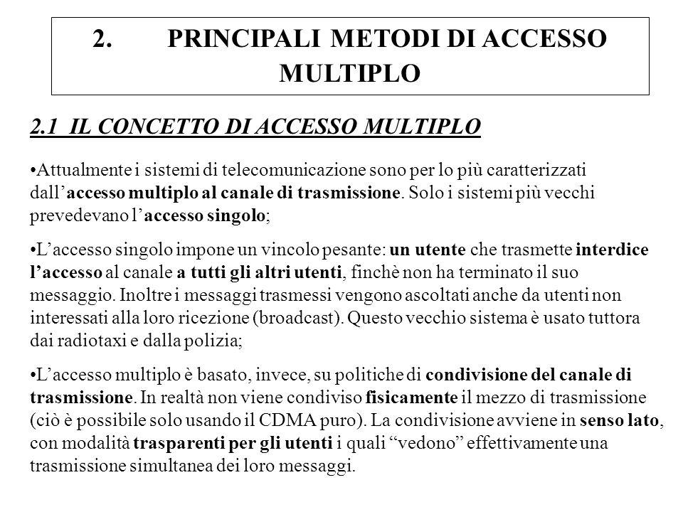 2. PRINCIPALI METODI DI ACCESSO MULTIPLO 2.1 IL CONCETTO DI ACCESSO MULTIPLO Attualmente i sistemi di telecomunicazione sono per lo più caratterizzati