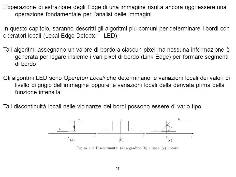 11 Loperazione di estrazione degli Edge di una immagine risulta ancora oggi essere una operazione fondamentale per lanalisi delle immagini In questo c