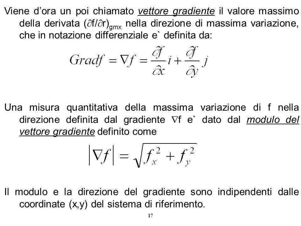 17 Viene dora un poi chiamato vettore gradiente il valore massimo della derivata ( f/ r) gmx nella direzione di massima variazione, che in notazione d