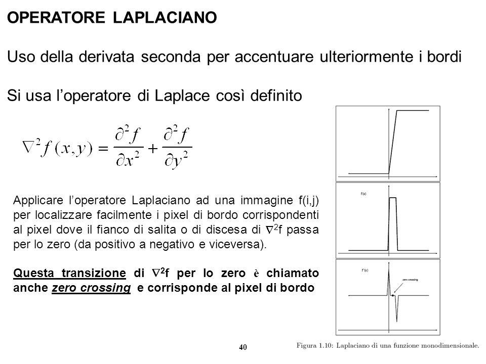 40 OPERATORE LAPLACIANO Uso della derivata seconda per accentuare ulteriormente i bordi Si usa loperatore di Laplace così definito Applicare loperator