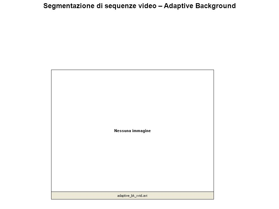 Segmentazione di sequenze video – Adaptive Background