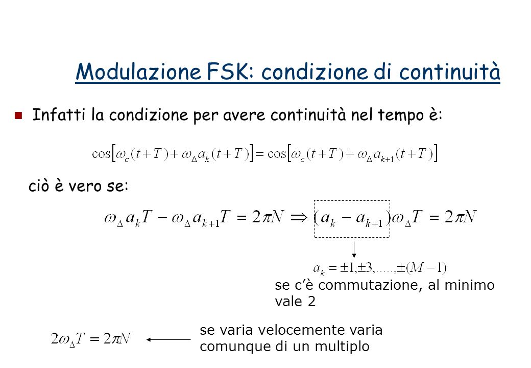 Infatti la condizione per avere continuità nel tempo è: ciò è vero se: Modulazione FSK: condizione di continuità se cè commutazione, al minimo vale 2 se varia velocemente varia comunque di un multiplo