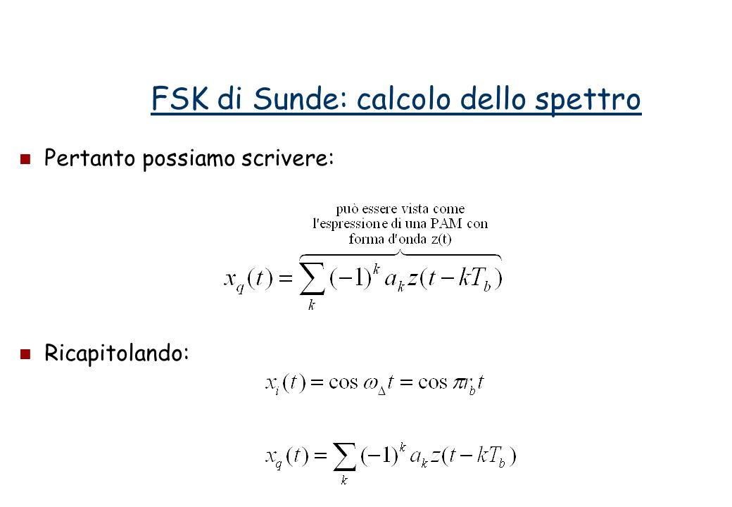 Pertanto possiamo scrivere: Ricapitolando: FSK di Sunde: calcolo dello spettro