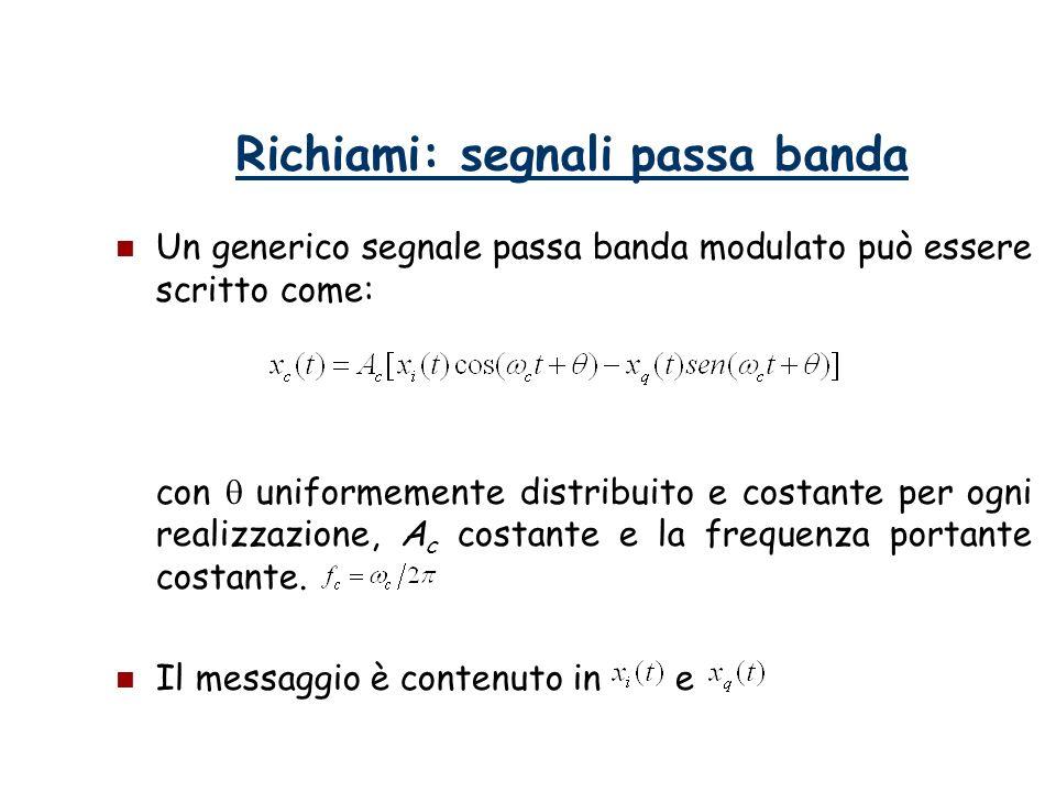 Richiami: segnali passa banda Un generico segnale passa banda modulato può essere scritto come: con uniformemente distribuito e costante per ogni real