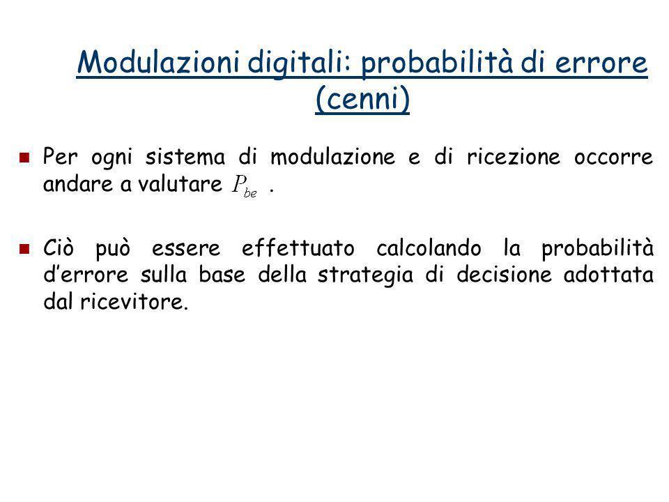 Modulazioni digitali: probabilità di errore (cenni) Per ogni sistema di modulazione e di ricezione occorre andare a valutare. Ciò può essere effettuat