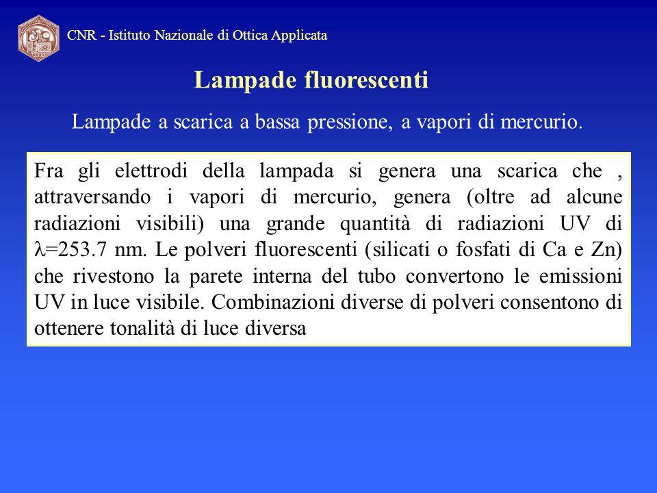 CNR - Istituto Nazionale di Ottica Applicata Lampade fluorescenti Fra gli elettrodi della lampada si genera una scarica che, attraversando i vapori di