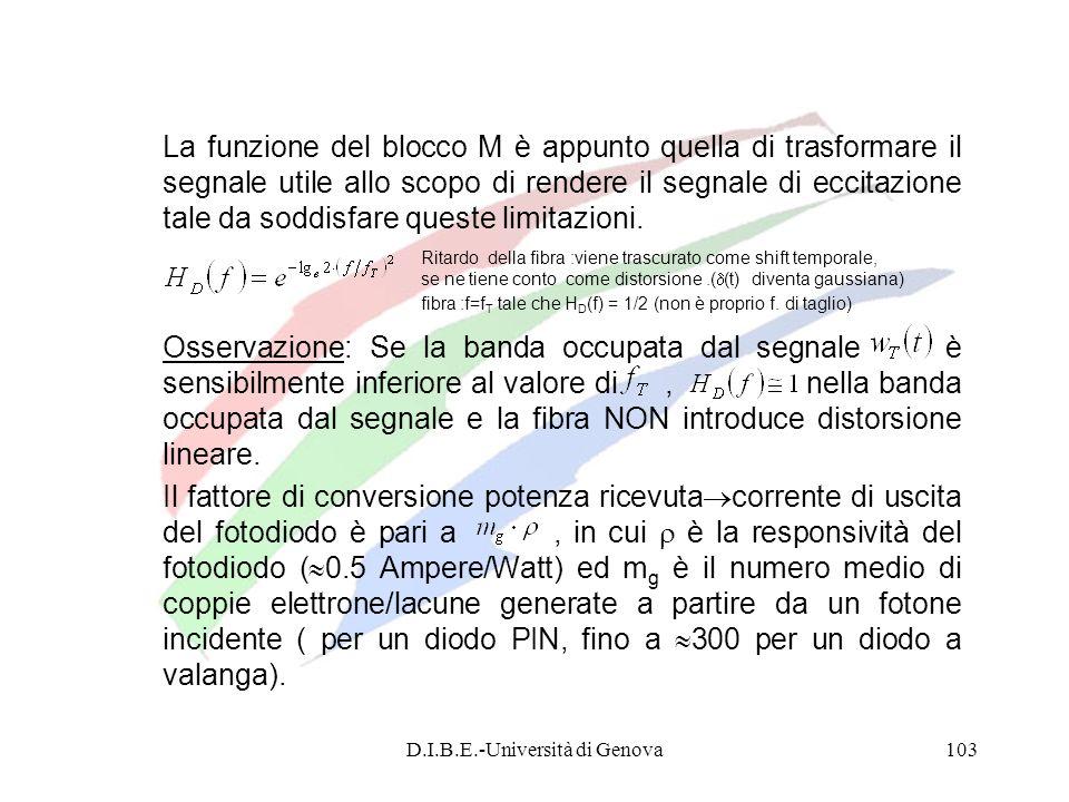 D.I.B.E.-Università di Genova103 La funzione del blocco M è appunto quella di trasformare il segnale utile allo scopo di rendere il segnale di eccitaz