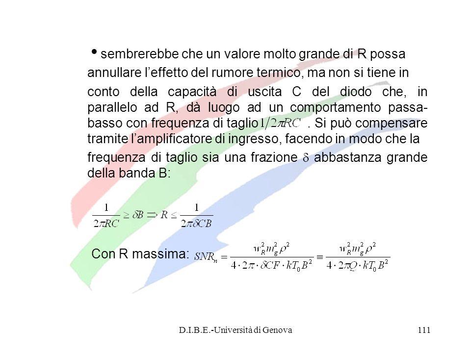 D.I.B.E.-Università di Genova111 sembrerebbe che un valore molto grande di R possa annullare leffetto del rumore termico, ma non si tiene in conto del
