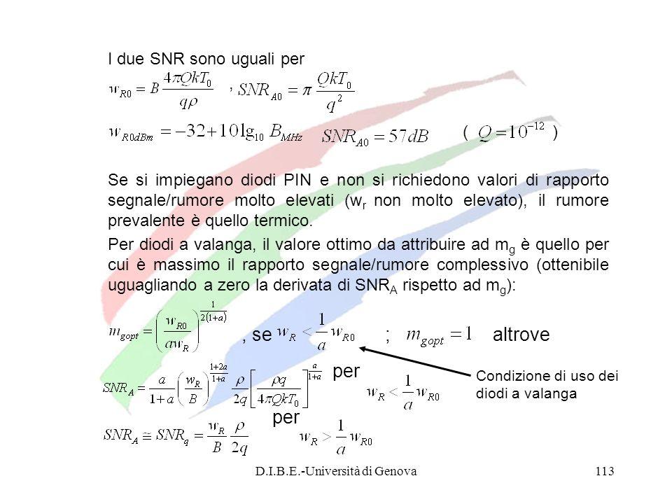 D.I.B.E.-Università di Genova113 I due SNR sono uguali per,, ( ) Se si impiegano diodi PIN e non si richiedono valori di rapporto segnale/rumore molto