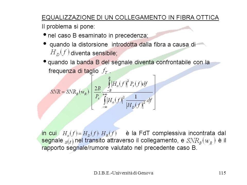D.I.B.E.-Università di Genova115 EQUALIZZAZIONE DI UN COLLEGAMENTO IN FIBRA OTTICA Il problema si pone: nel caso B esaminato in precedenza; quando la