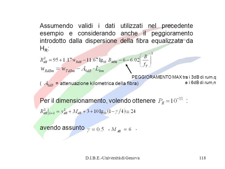 D.I.B.E.-Università di Genova118 Assumendo validi i dati utilizzati nel precedente esempio e considerando anche il peggioramento introdotto dalla disp