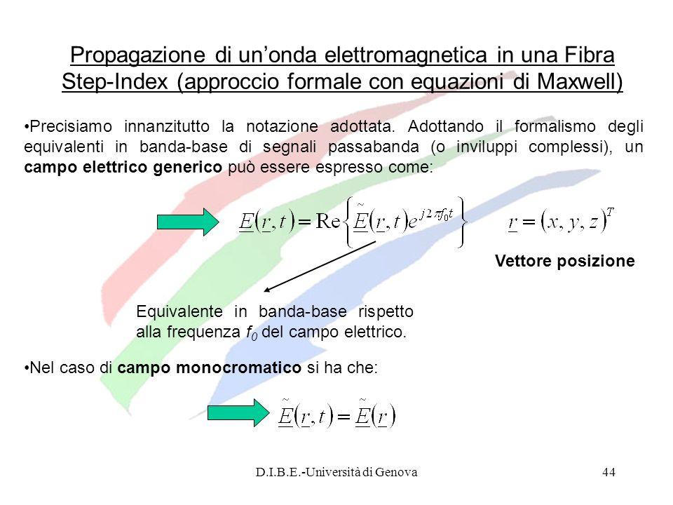 D.I.B.E.-Università di Genova44 Propagazione di unonda elettromagnetica in una Fibra Step-Index (approccio formale con equazioni di Maxwell) Precisiam