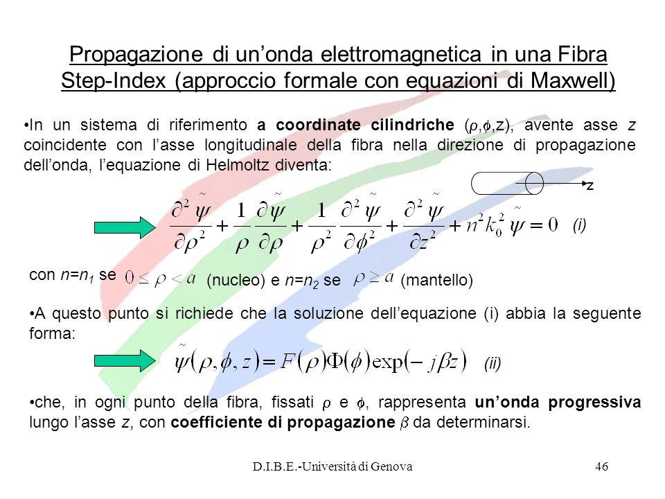 D.I.B.E.-Università di Genova46 Propagazione di unonda elettromagnetica in una Fibra Step-Index (approccio formale con equazioni di Maxwell) In un sis