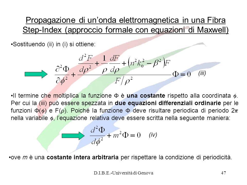 D.I.B.E.-Università di Genova47 Propagazione di unonda elettromagnetica in una Fibra Step-Index (approccio formale con equazioni di Maxwell) Sostituen