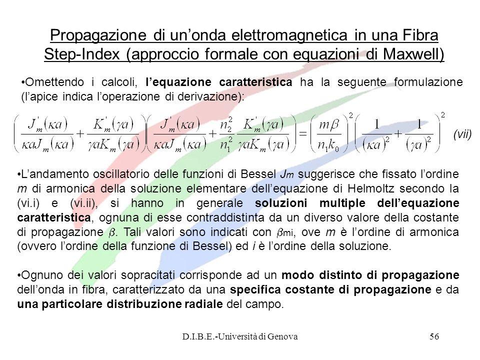 D.I.B.E.-Università di Genova56 Propagazione di unonda elettromagnetica in una Fibra Step-Index (approccio formale con equazioni di Maxwell) Omettendo