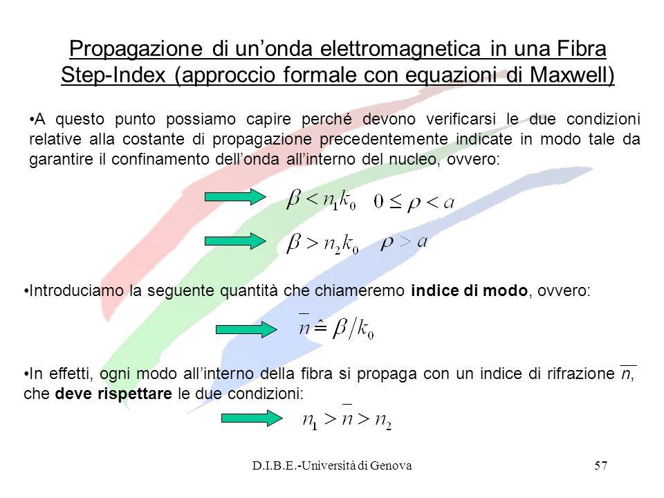 D.I.B.E.-Università di Genova57 A questo punto possiamo capire perché devono verificarsi le due condizioni relative alla costante di propagazione prec