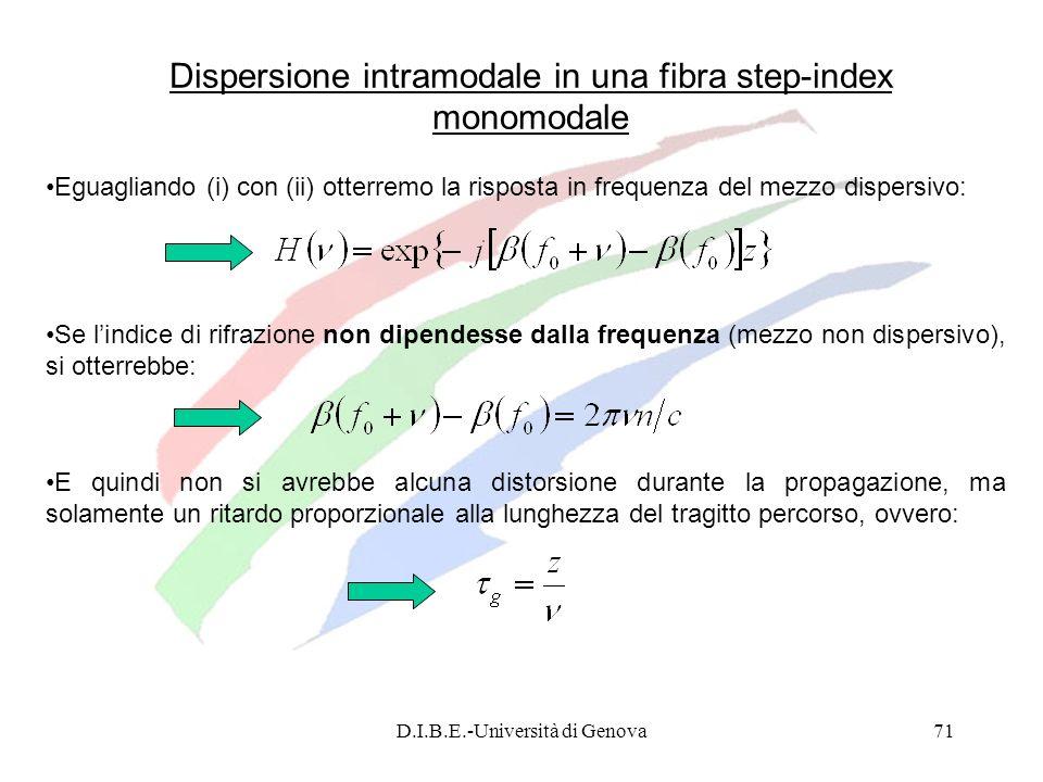 D.I.B.E.-Università di Genova71 Eguagliando (i) con (ii) otterremo la risposta in frequenza del mezzo dispersivo: Dispersione intramodale in una fibra
