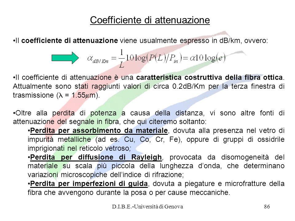 D.I.B.E.-Università di Genova86 Coefficiente di attenuazione Il coefficiente di attenuazione viene usualmente espresso in dB/km, ovvero: Il coefficien