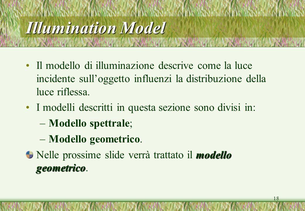 18 Illumination Model Il modello di illuminazione descrive come la luce incidente sulloggetto influenzi la distribuzione della luce riflessa. I modell