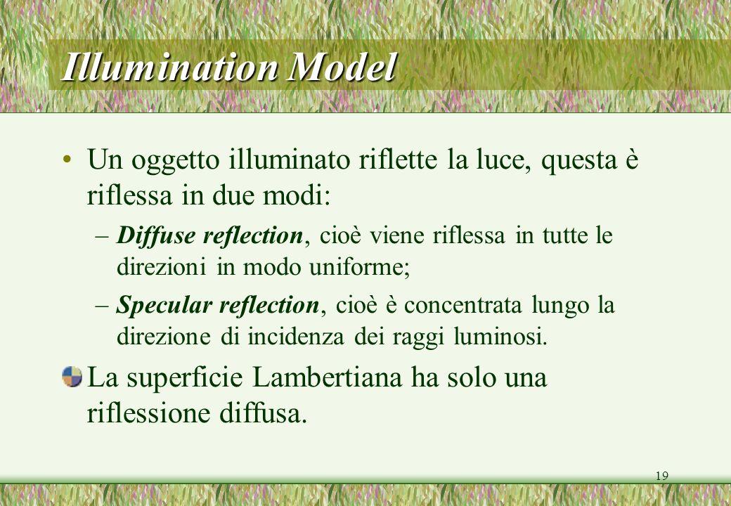 19 Illumination Model Un oggetto illuminato riflette la luce, questa è riflessa in due modi: –Diffuse reflection, cioè viene riflessa in tutte le direzioni in modo uniforme; –Specular reflection, cioè è concentrata lungo la direzione di incidenza dei raggi luminosi.