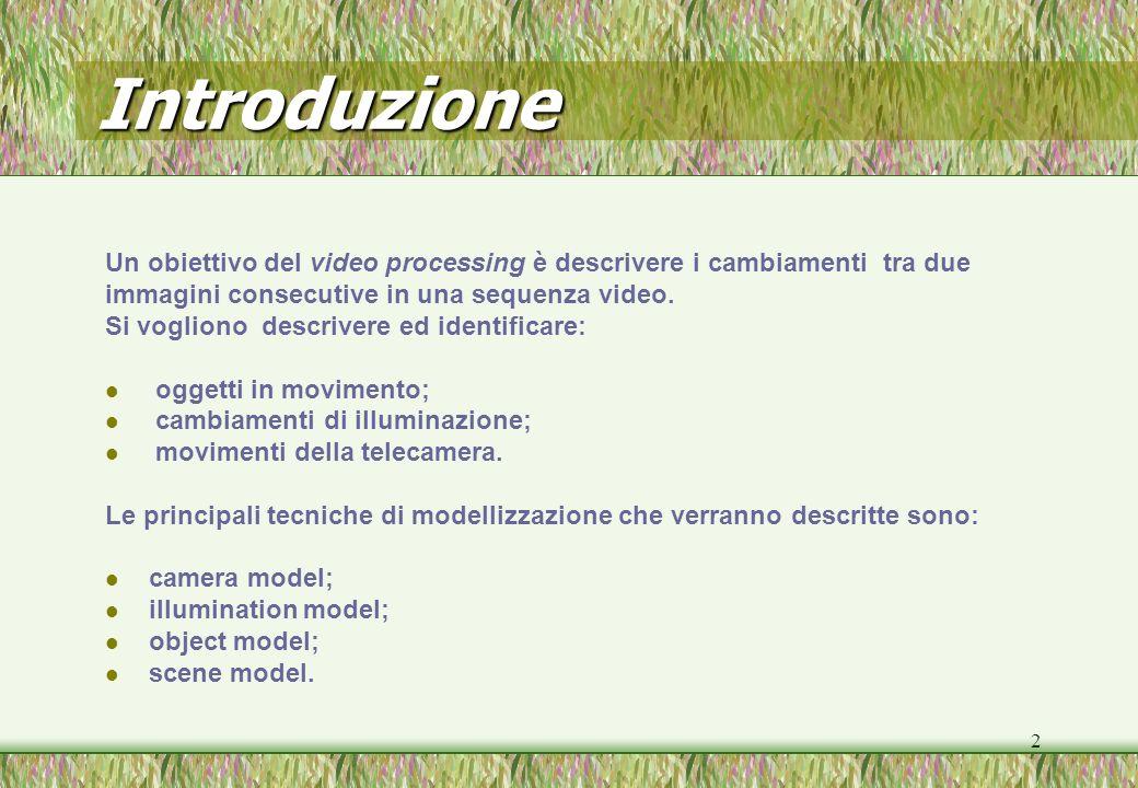 2 Introduzione Un obiettivo del video processing è descrivere i cambiamenti tra due immagini consecutive in una sequenza video. Si vogliono descrivere