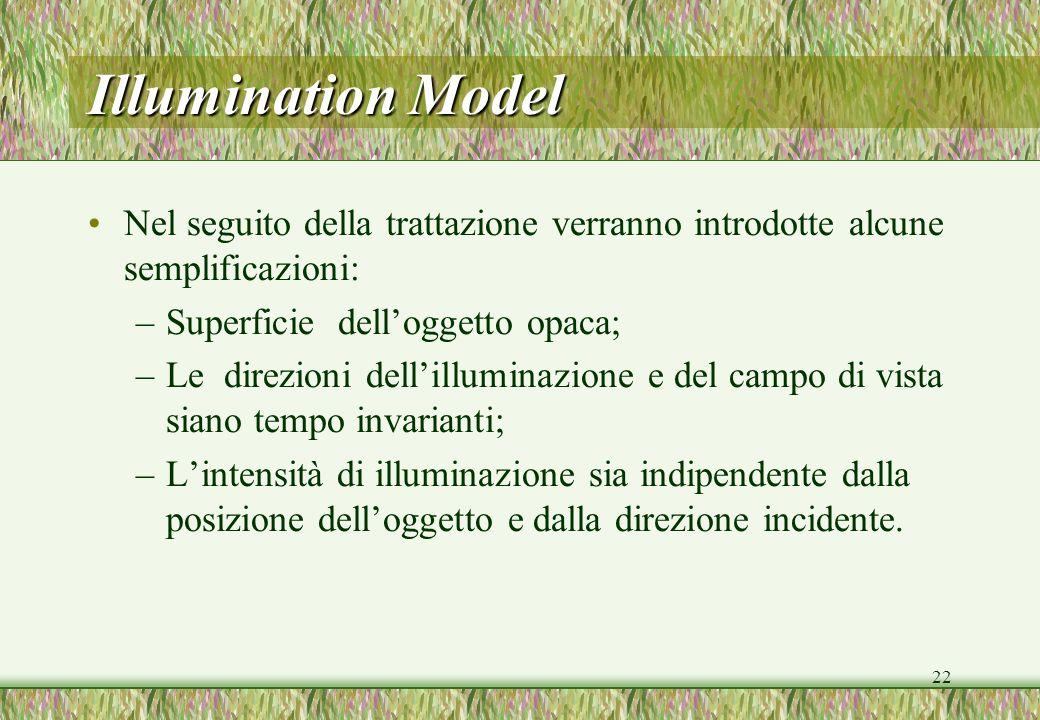 22 Illumination Model Nel seguito della trattazione verranno introdotte alcune semplificazioni: –Superficie delloggetto opaca; –Le direzioni dellillum