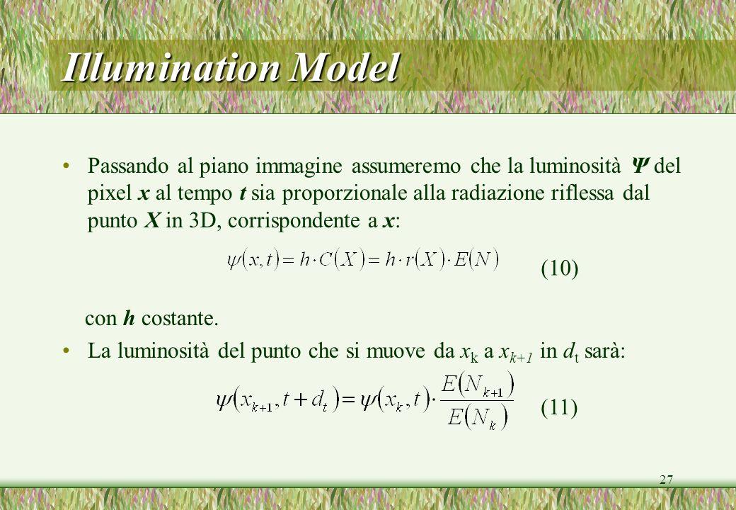 27 Illumination Model Passando al piano immagine assumeremo che la luminosità Ψ del pixel x al tempo t sia proporzionale alla radiazione riflessa dal punto X in 3D, corrispondente a x: con h costante.