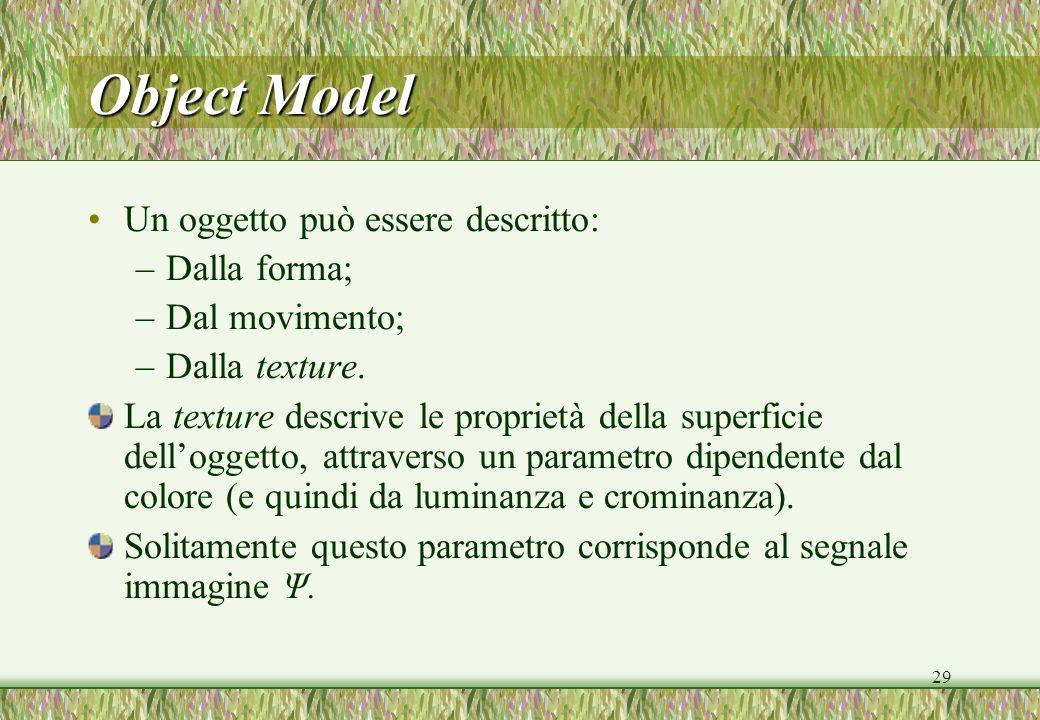29 Object Model Un oggetto può essere descritto: –Dalla forma; –Dal movimento; –Dalla texture. La texture descrive le proprietà della superficie dello
