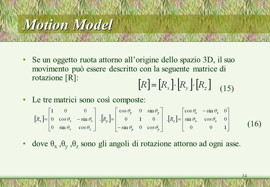 34 Motion Model Se un oggetto ruota attorno allorigine dello spazio 3D, il suo movimento può essere descritto con la seguente matrice di rotazione [R]: Le tre matrici sono così composte: dove θ x,θ y,θ z sono gli angoli di rotazione attorno ad ogni asse.