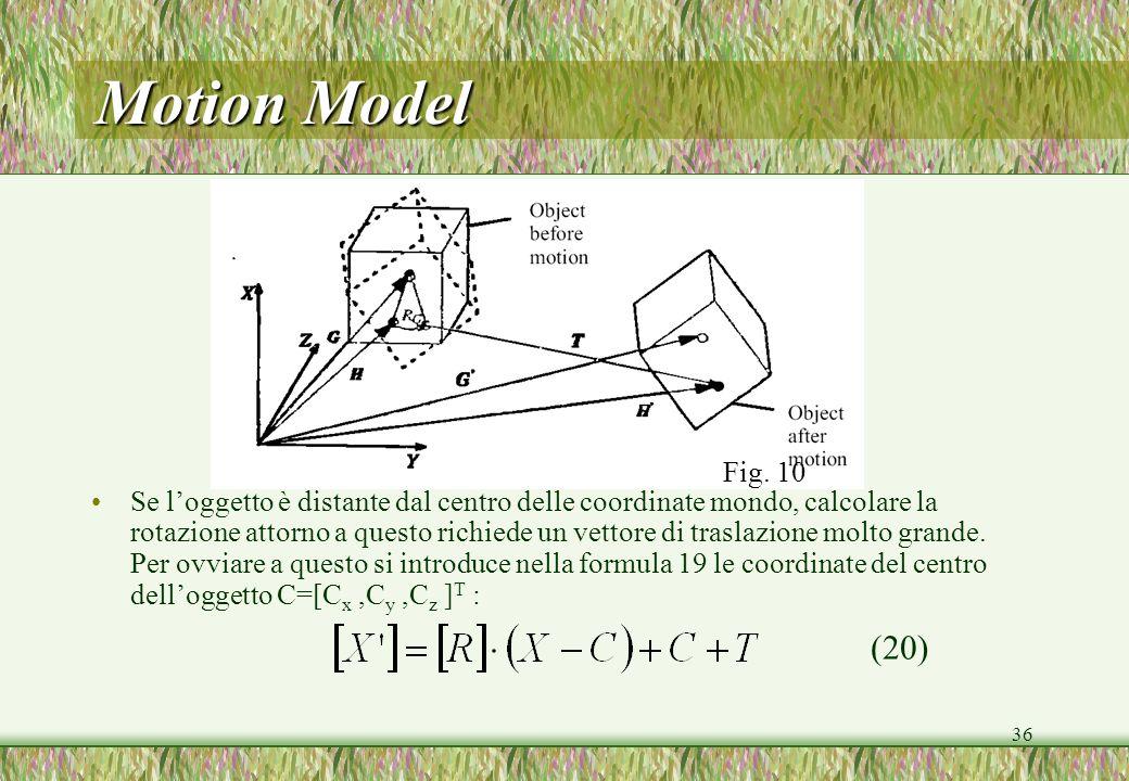 36 Motion Model Se loggetto è distante dal centro delle coordinate mondo, calcolare la rotazione attorno a questo richiede un vettore di traslazione m
