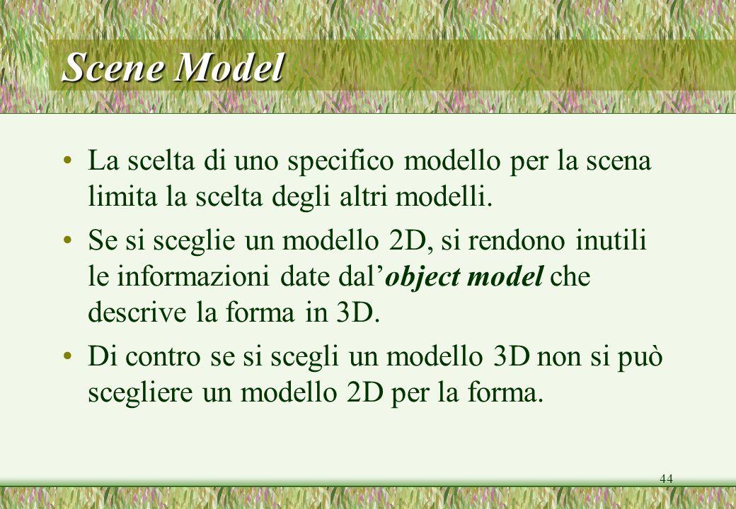 44 La scelta di uno specifico modello per la scena limita la scelta degli altri modelli. Se si sceglie un modello 2D, si rendono inutili le informazio