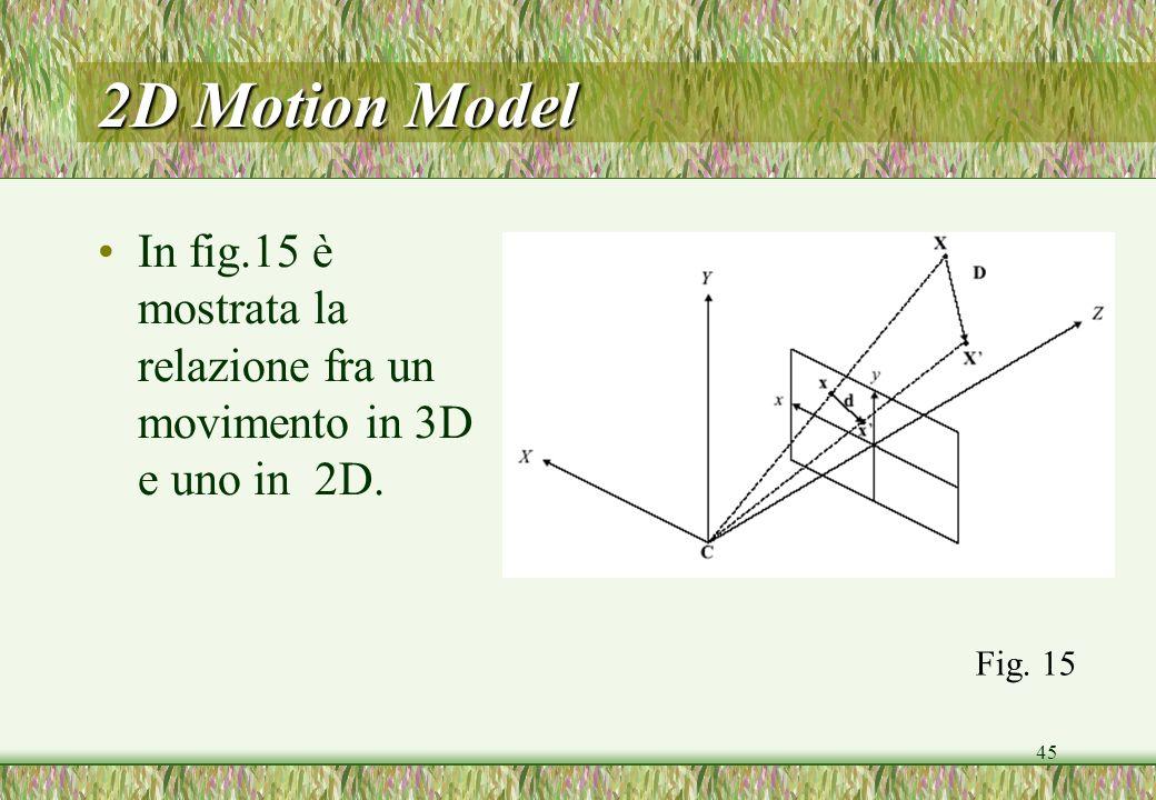 45 2D Motion Model In fig.15 è mostrata la relazione fra un movimento in 3D e uno in 2D. Fig. 15