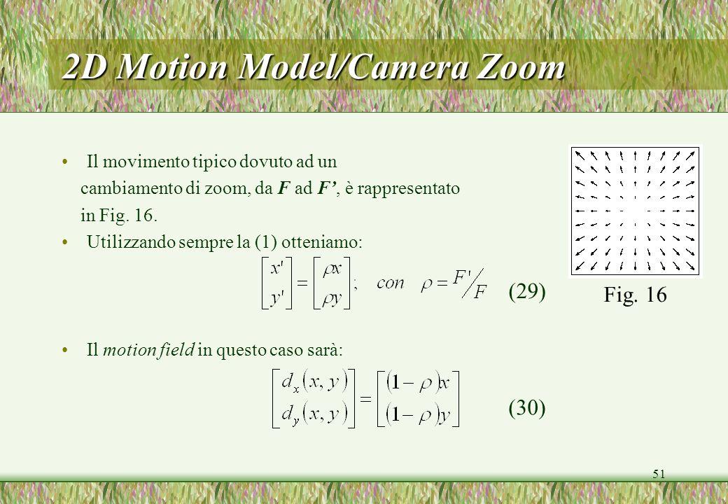 51 2D Motion Model/Camera Zoom Il movimento tipico dovuto ad un cambiamento di zoom, da F ad F, è rappresentato in Fig. 16. Utilizzando sempre la (1)