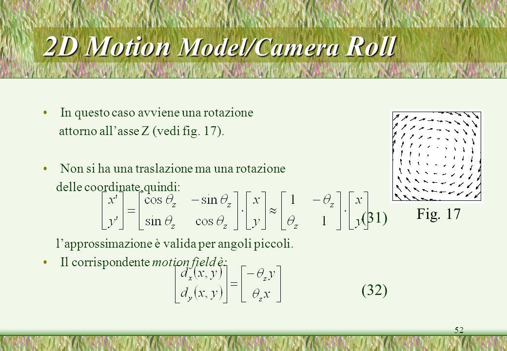 52 2D Motion Model/Camera Roll In questo caso avviene una rotazione attorno allasse Z (vedi fig. 17). Non si ha una traslazione ma una rotazione delle