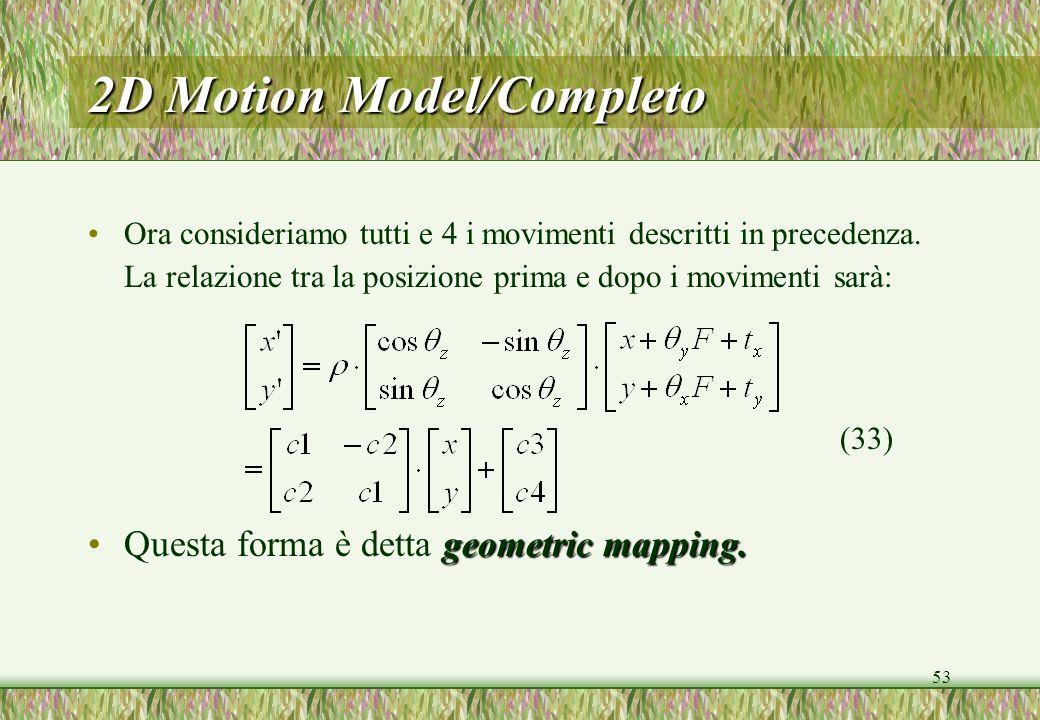 53 2D Motion Model/Completo Ora consideriamo tutti e 4 i movimenti descritti in precedenza. La relazione tra la posizione prima e dopo i movimenti sar