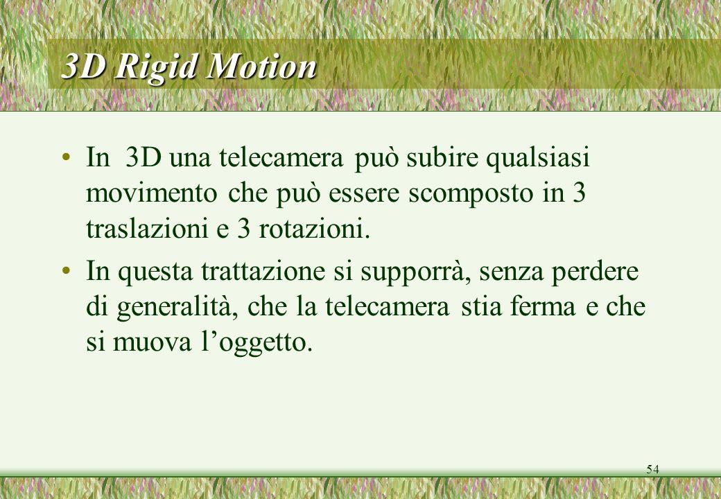54 3D Rigid Motion In 3D una telecamera può subire qualsiasi movimento che può essere scomposto in 3 traslazioni e 3 rotazioni. In questa trattazione
