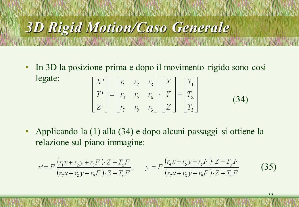 55 3D Rigid Motion/Caso Generale In 3D la posizione prima e dopo il movimento rigido sono così legate: Applicando la (1) alla (34) e dopo alcuni passaggi si ottiene la relazione sul piano immagine: (34) (35)