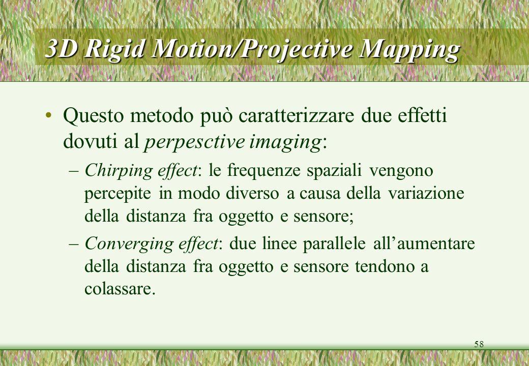 58 3D Rigid Motion/Projective Mapping Questo metodo può caratterizzare due effetti dovuti al perpesctive imaging: –Chirping effect: le frequenze spazi