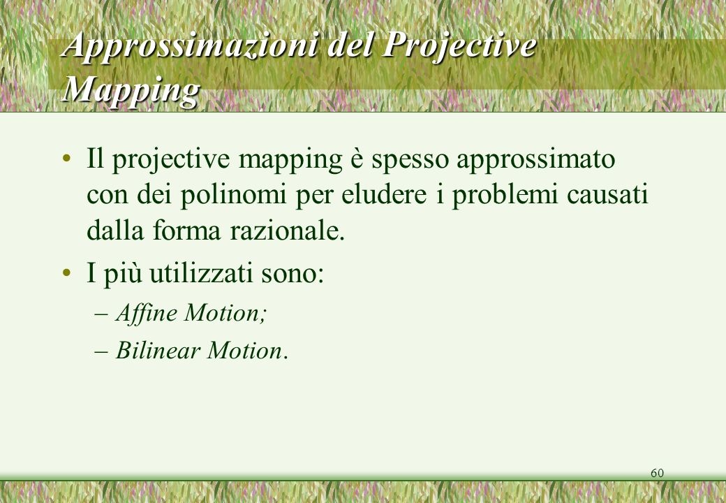 60 Approssimazioni del Projective Mapping Il projective mapping è spesso approssimato con dei polinomi per eludere i problemi causati dalla forma razionale.