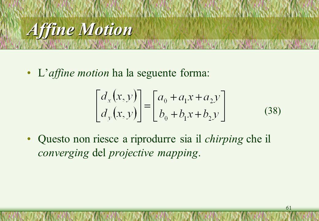 61 Affine Motion Laffine motion ha la seguente forma: Questo non riesce a riprodurre sia il chirping che il converging del projective mapping. (38)